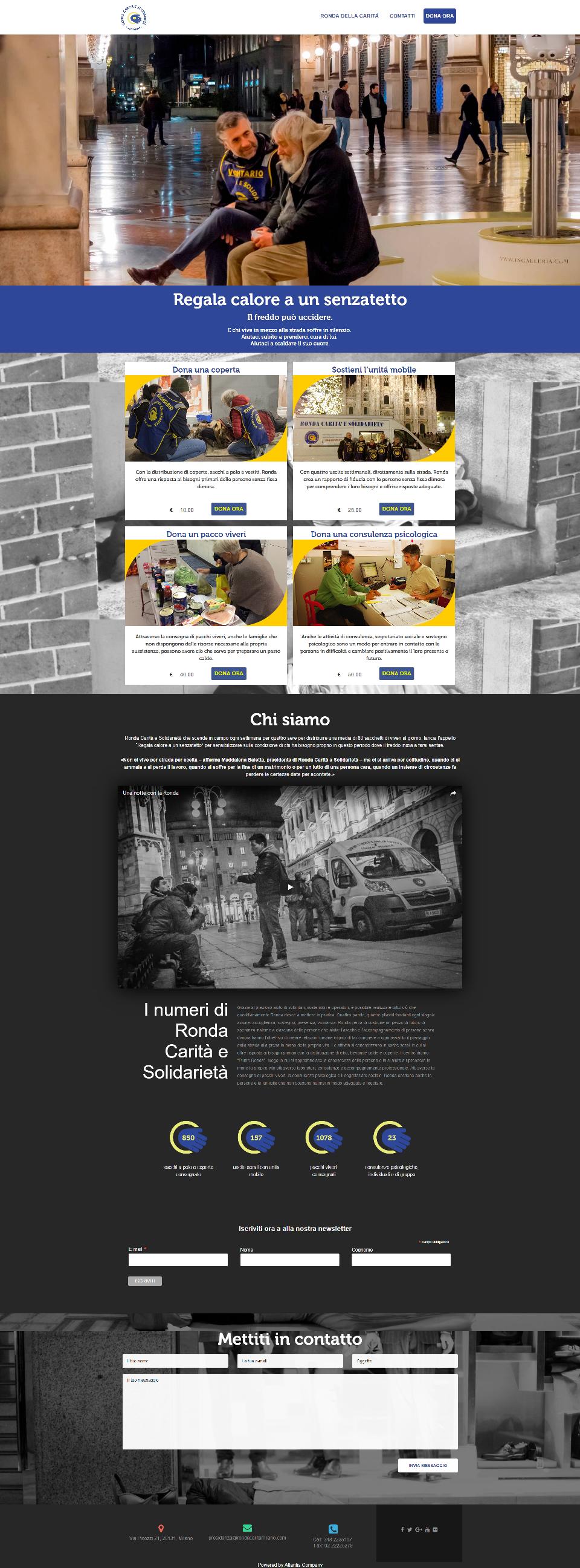 Campagna mail #regalacalore e landing page per Ronda Carità e Solidarietà
