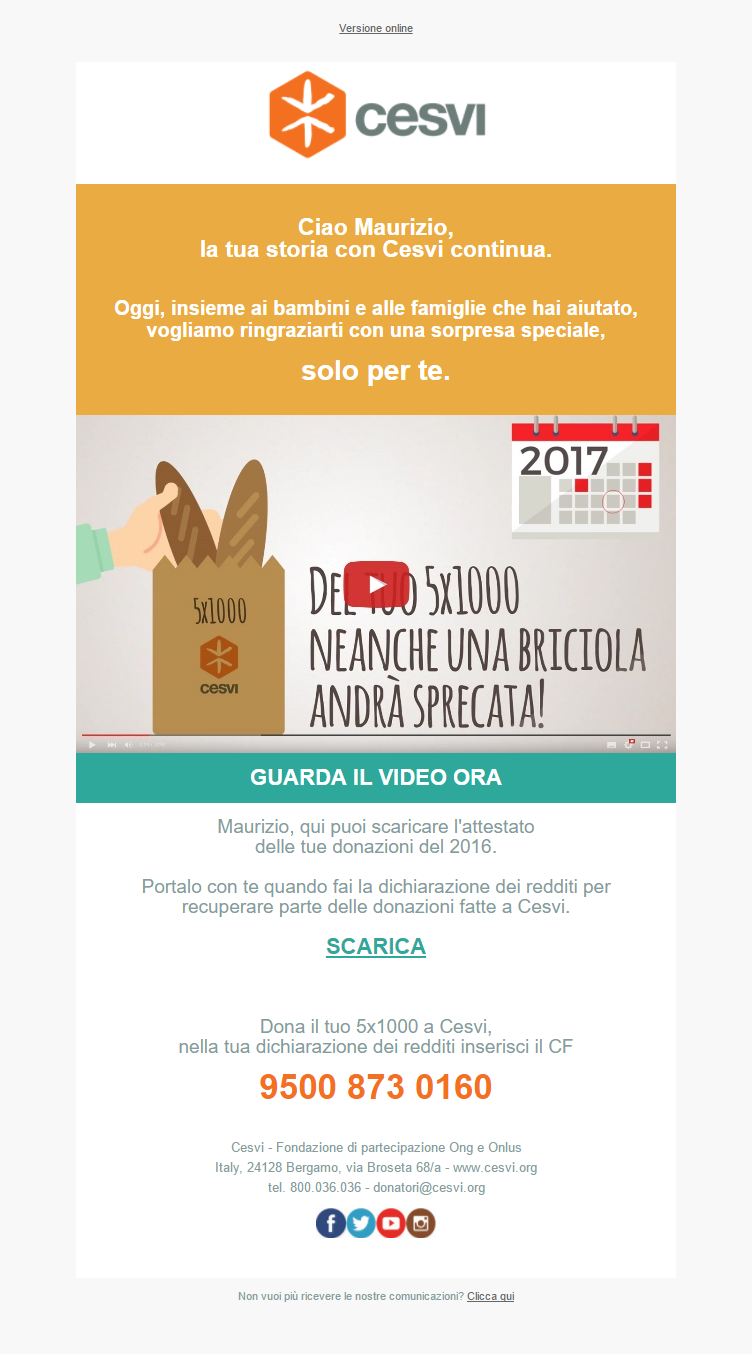 Campagna 5×1000 2017 Direct Video per Cesvi