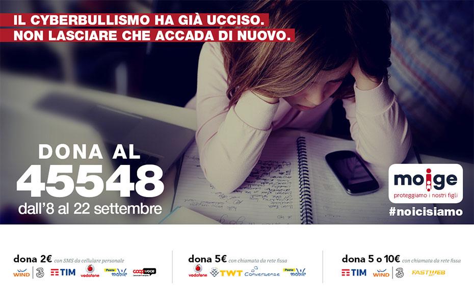 Contro il cyberbullismo riparte la campagna sms solidale del MOIGE #noicisiamo