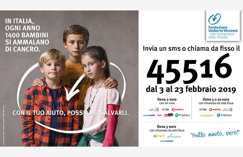 Fondazione Umberto Veronesi:  attiva la campagna sms solidale per l'oncologia pediatrica