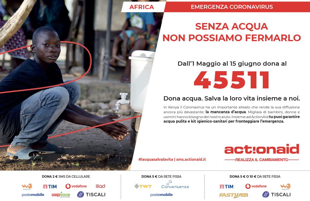 """ActionAid """"Senza acqua non possiamo fermarlo"""""""